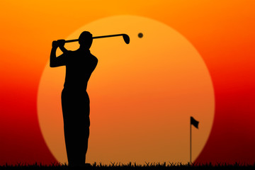 silhouette golf player