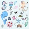 Vector set of marine animals and shells.