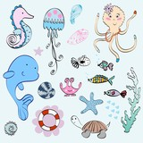 Vector set of marine animals and shells.