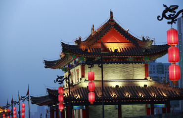 night scene at xian city wall,china