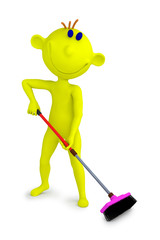 Yellow boy with mop