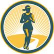 Female Marathon Runner Circle Retro