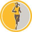Female Triathlete Marathon Runner Circle Retro
