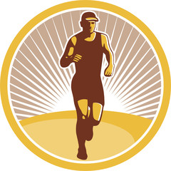 Marathon Runner Running Front Circle Retro