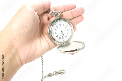 holding clock on hand