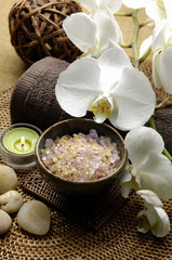 green candle, white orchid ,stones, Spa salt