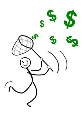 Strichmännchen verdient Geld