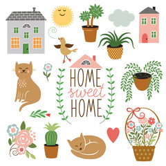Home Sweet Home ,set of vector drawings