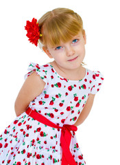 charming little girl with red rose in hair braided