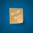 Be right back sign on blue background
