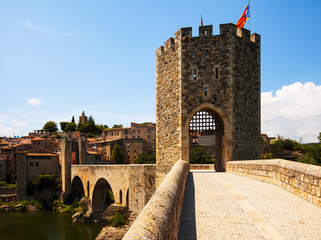Old gate into medieval town. Besalu