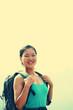 woman hiker stand at peak of mountain huashan