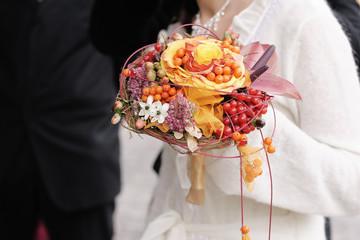 Beautiful orange wedding bouquet