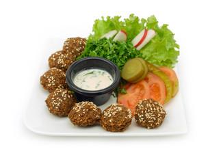 Falafel dish with veggies