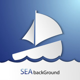 Vector sea background with a paper ship and waves