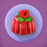 Raspberry jelly, long shadow vector icon