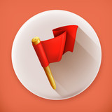 Red flag long shadow vector icon