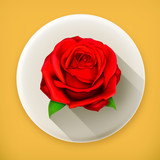 Red rose, long shadow vector icon