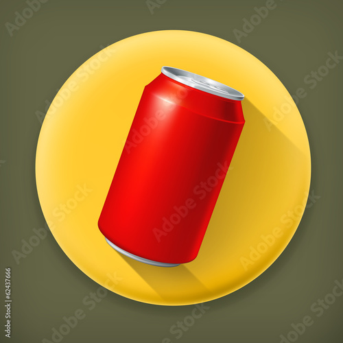 Red Can, long shadow vector icon