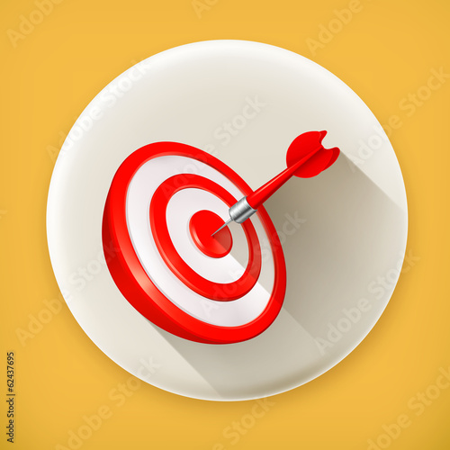 Red Target with a dart, long shadow vector icon