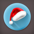Santa Claus hat long shadow vector icon