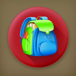 School bag long shadow vector icon