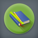 Schoolbook long shadow, vector icon