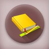 Schoolbook long shadow vector icon poster