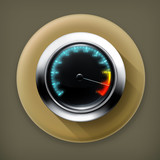 Speedometer long shadow vector icon