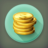 Stack of coins long shadow vector icon