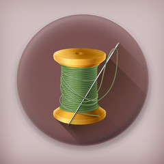 Spool of thread, long shadow vector icon