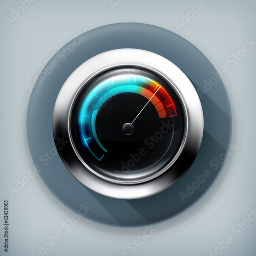 Speedometer, long shadow vector icon
