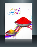 Vector beautiful brochure colorful indian festival Holi with gul