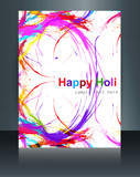 Holi grunge stylish wave colorful grunge brochure template backg