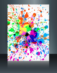 Holi brochure grunge colorful texture festival template vector