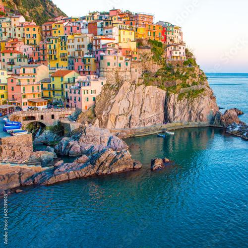 Sunset in Manarona, Cinque Terre, Italy - 62439043