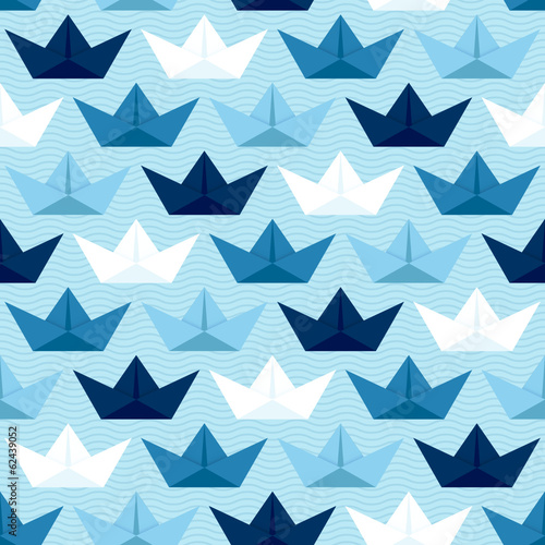 Origami Paperboats & Waves Seamless Pattern