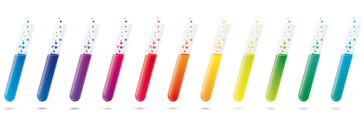 Colorful test tubes vector design elements