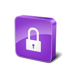 Protected 3d Rounded Square Violet Vector Button Icon Design