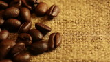 Burlap Fabric and Coffee Beans. Macro