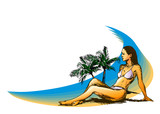 Background with a woman on the beach. Vector illustration