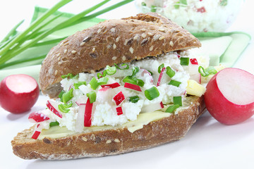 Bread roll with cottage cheese,radish and chives