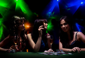 young girls on disco in night club