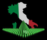 Arrow of people with Italy map flag illustration