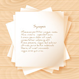 Stack of Papers on Wooden Background