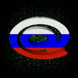e-mail address AT symbol with Russian flag on hex illustration