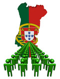 Lines of people with Portugal map flag illustration