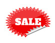 Red seals sticker with sale text