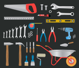 Modern hand tools. instruments collection