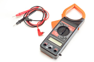 Black digital clamp meter isolated